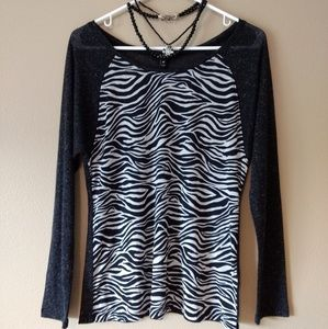 ABS zebra grey T shirt. Sz M. Cute!!!!!